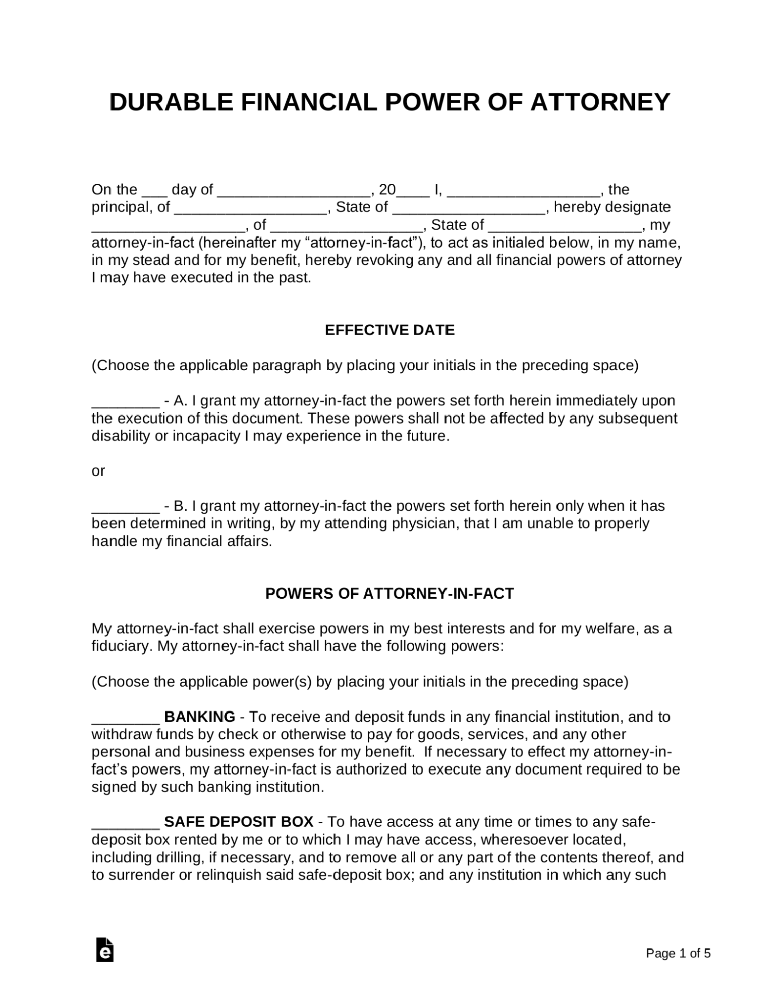 Sample first page of a durable power of attorney