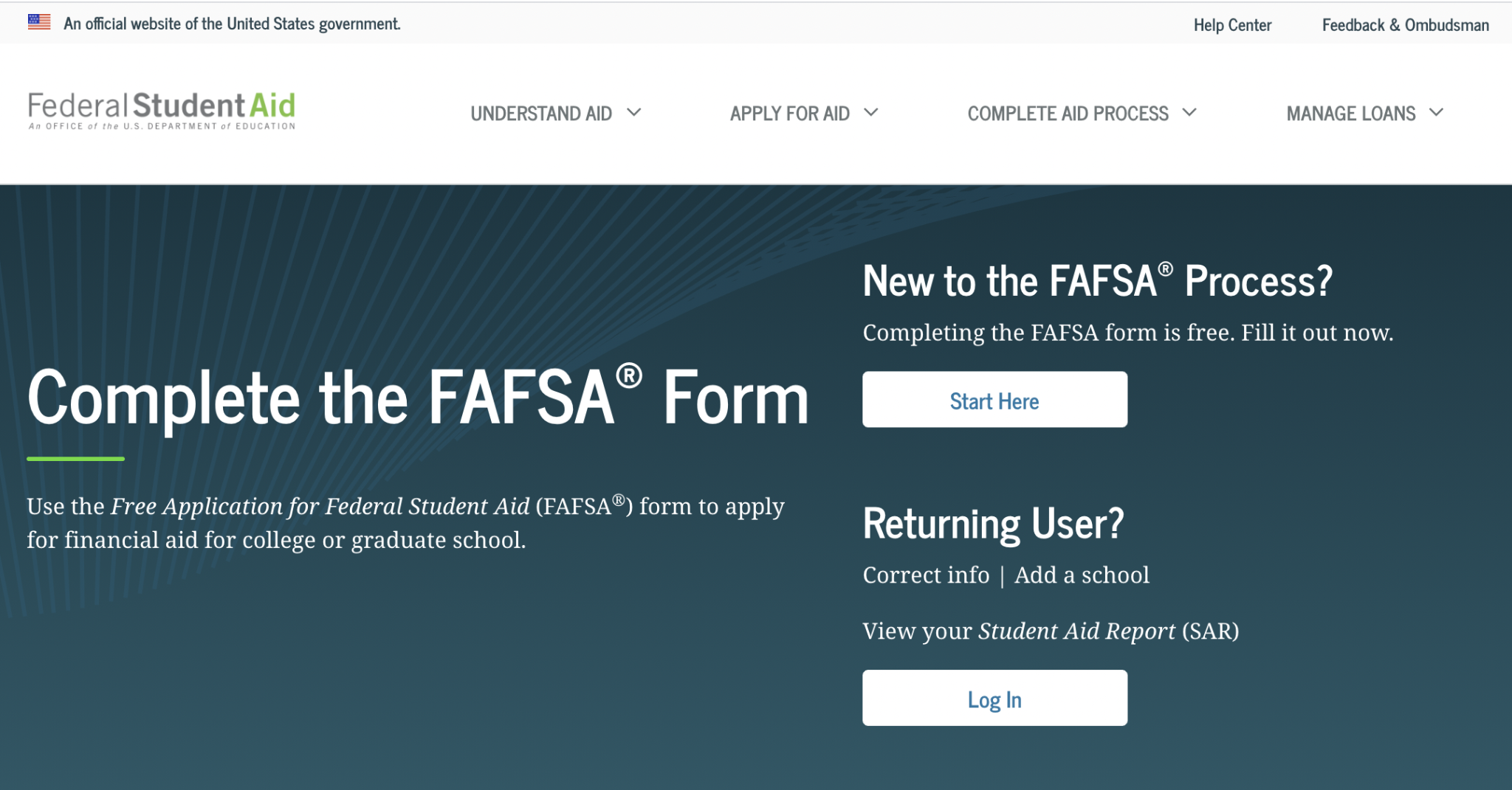 FAFSA website home page
