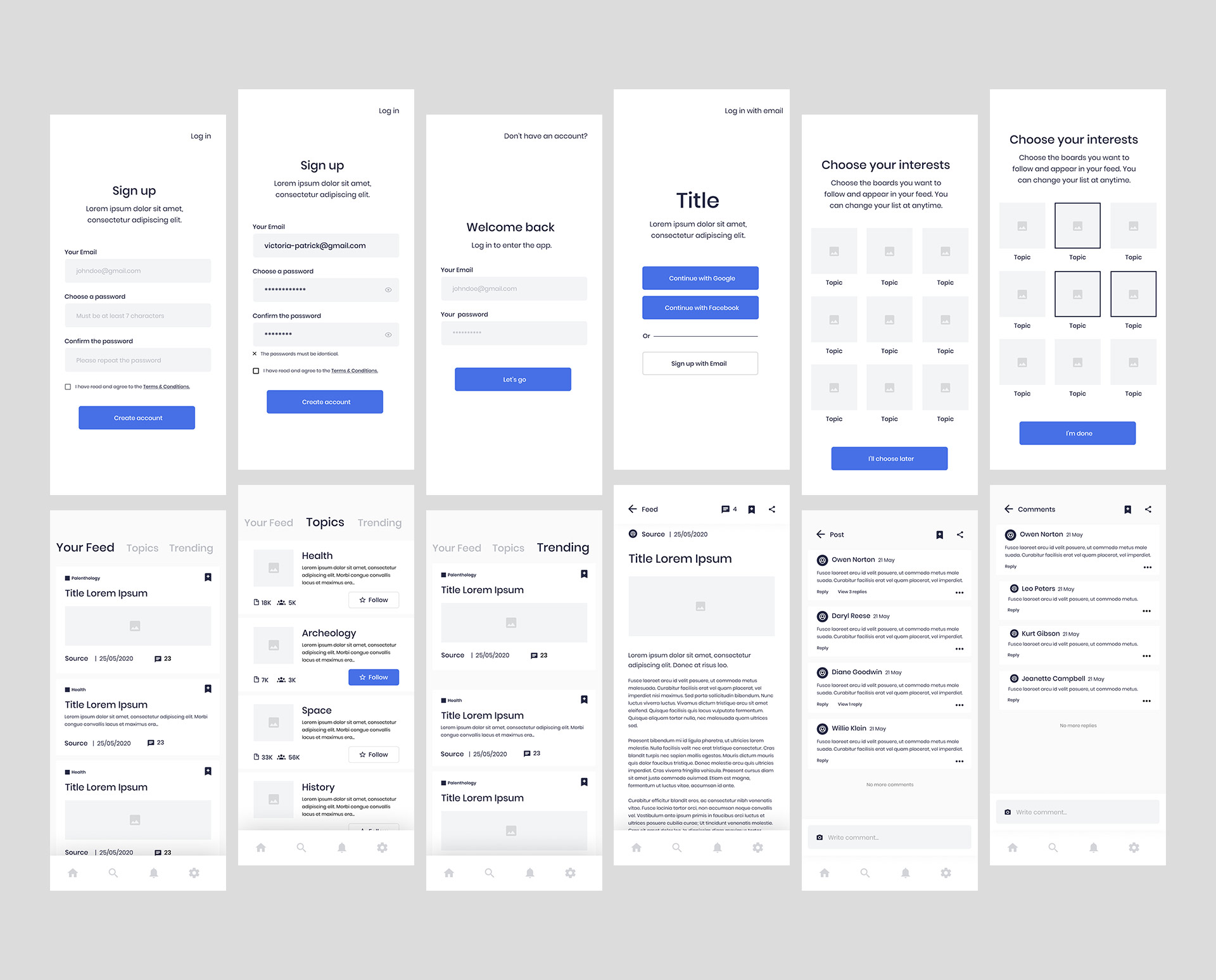 """Wireframes designed for the app """"Science News"""""""