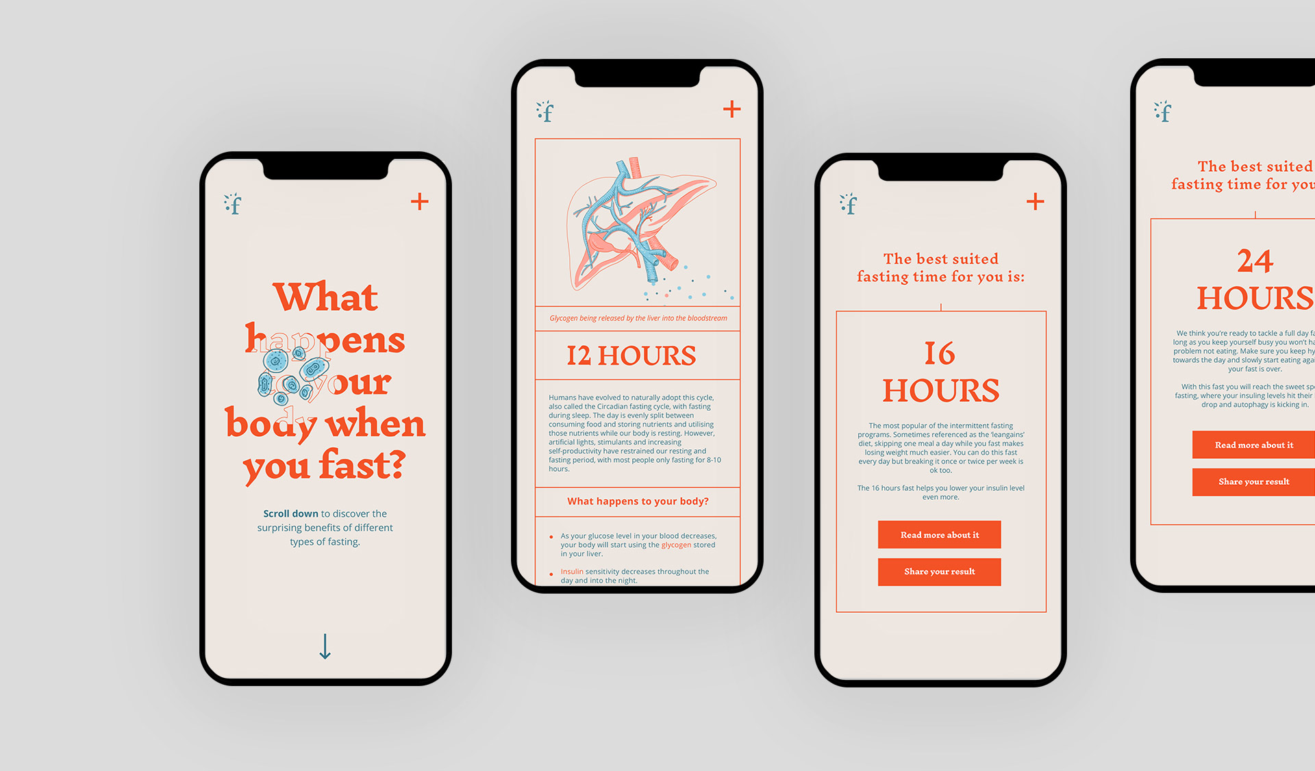 """Mobile screens designed for the project """"Fast with us"""""""