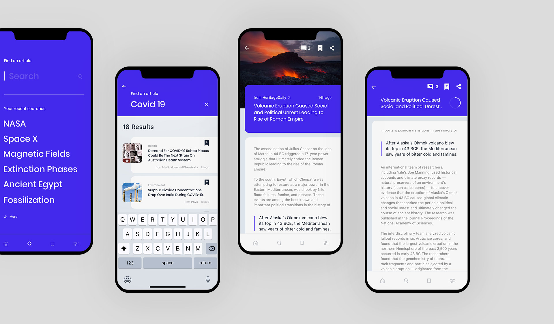 """The search screens designed for the app """"Science News"""""""