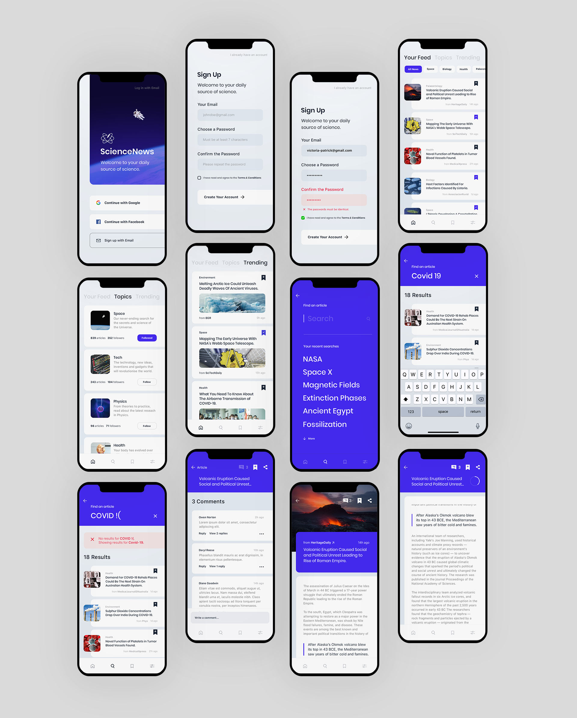 """An overview of all the screens designed for the app """"Science News"""""""