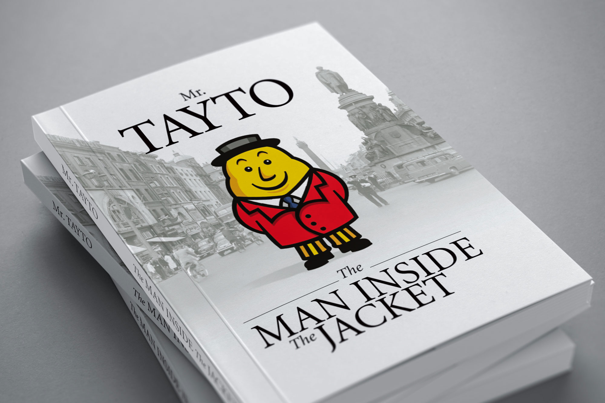 Tayto book cover graphic design man inside the jacket freelance Dublin Largo Foods