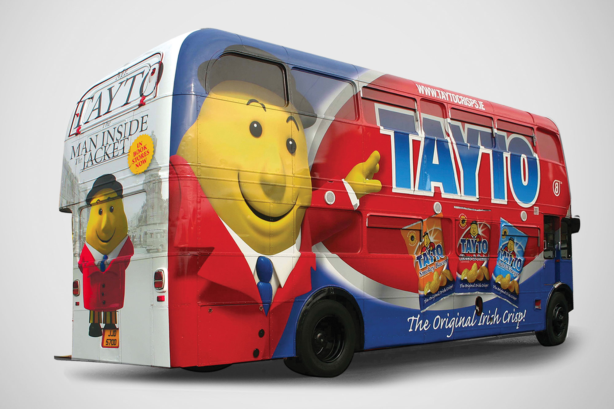 Tayto bus vehicle wrap decal graphic design freelance Dublin