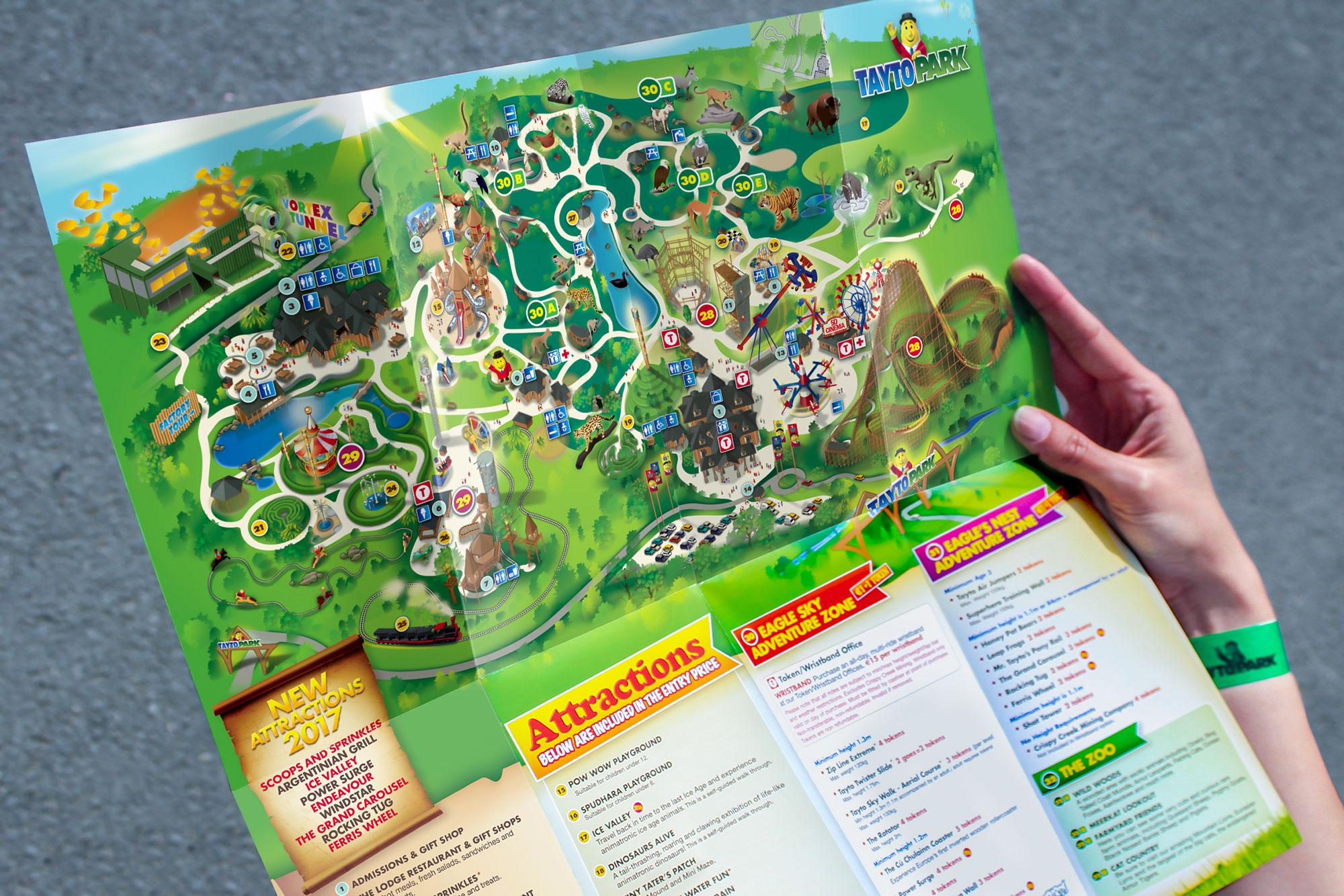 Mr. Tayto Park map brochure branding graphic design Freelance Dublin
