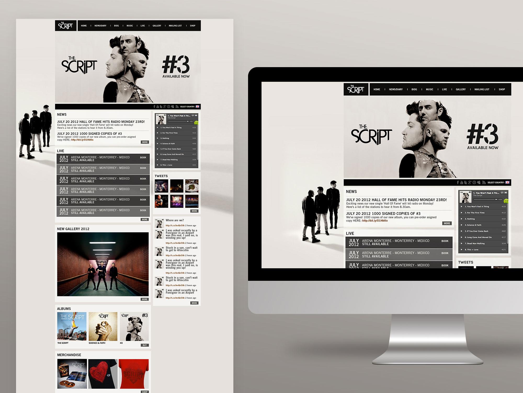 The Script Irish Band Website Graphic Design UI Design Sony Music Freelance Dublin London