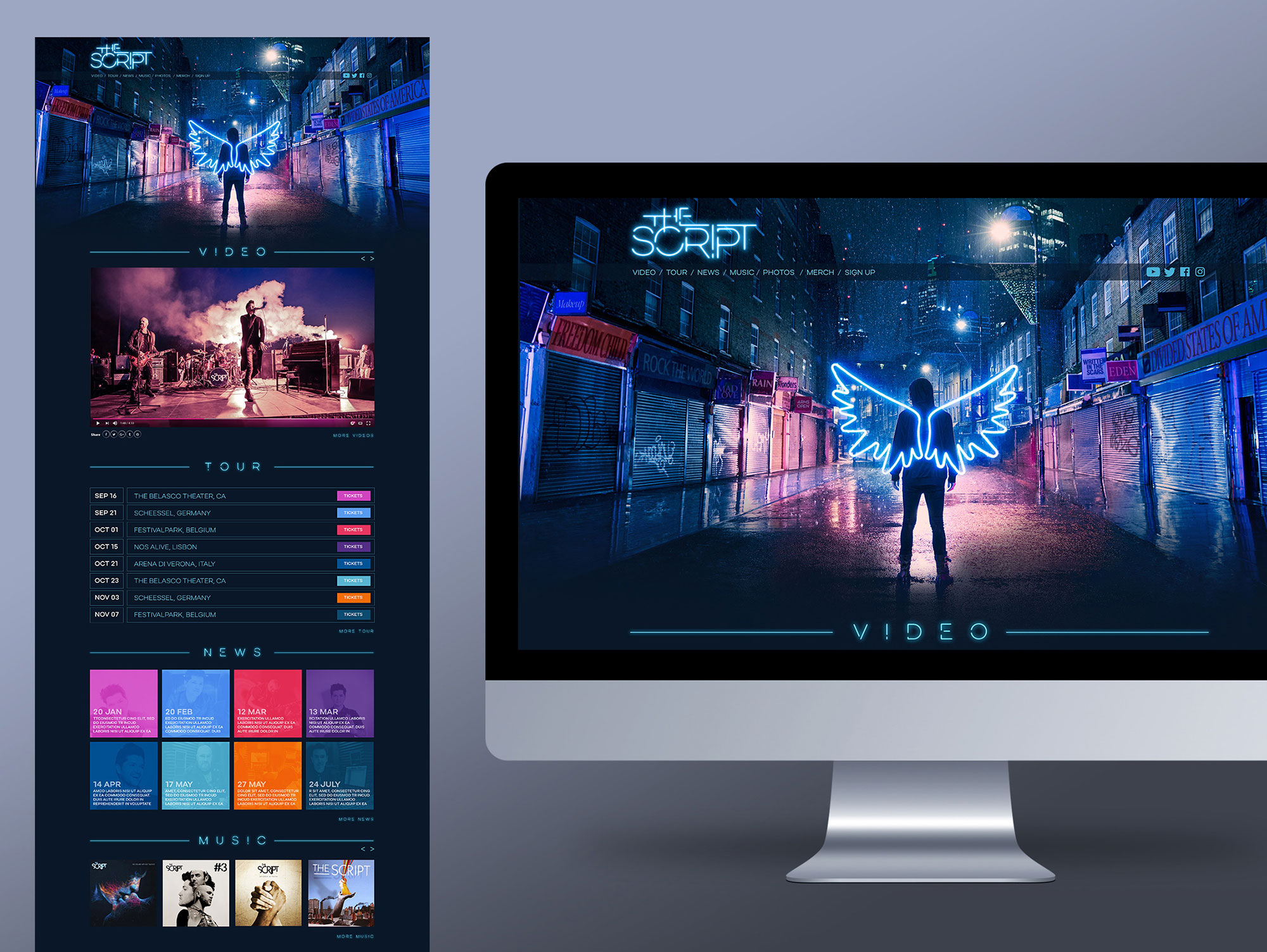 The Script Irish Band Website Graphic Design UI Sony Music Freelance Dublin London Freedom Child
