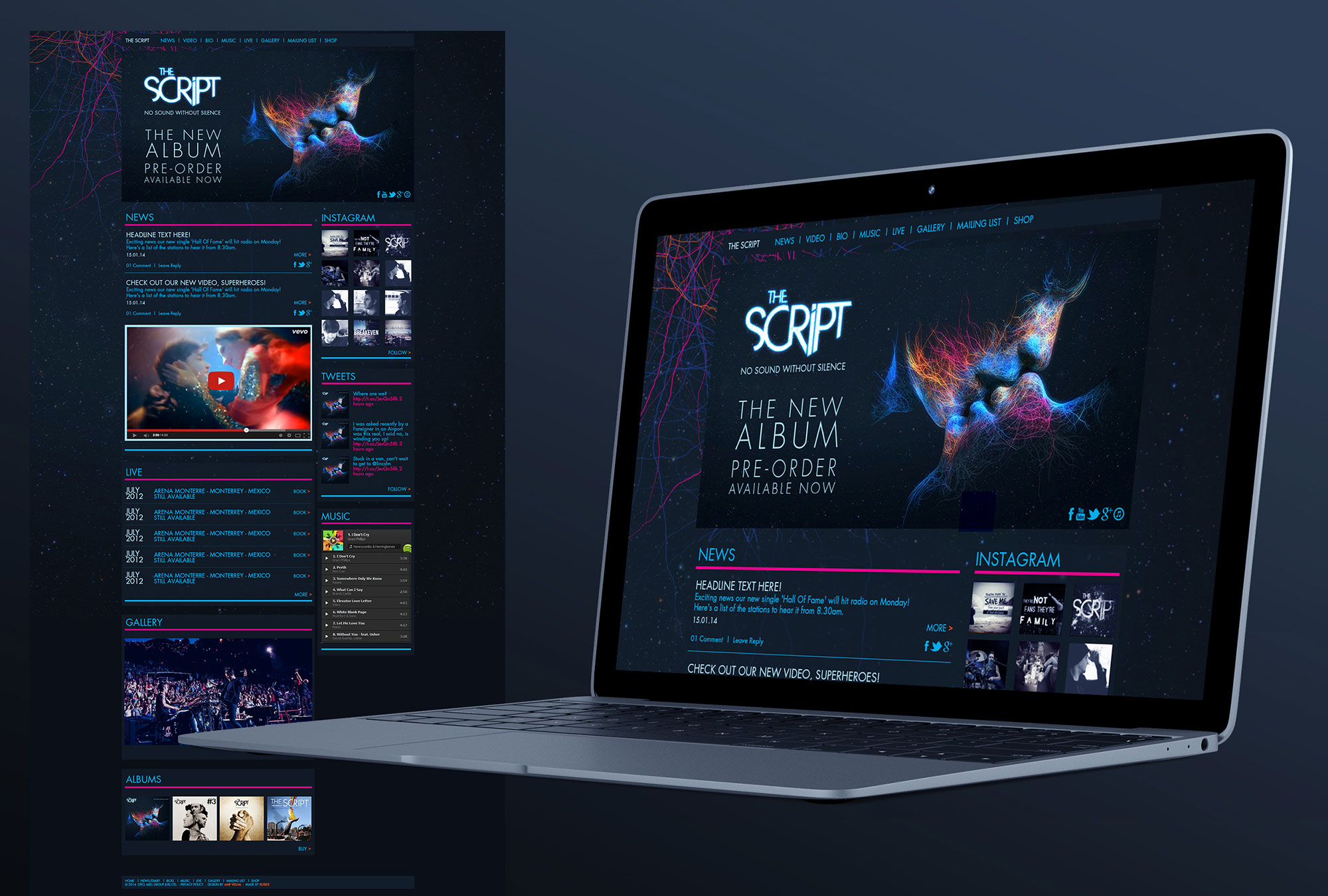 The Script Band Website Graphic Design UI Sony Music Freelance Dublin London Sound Without Silence