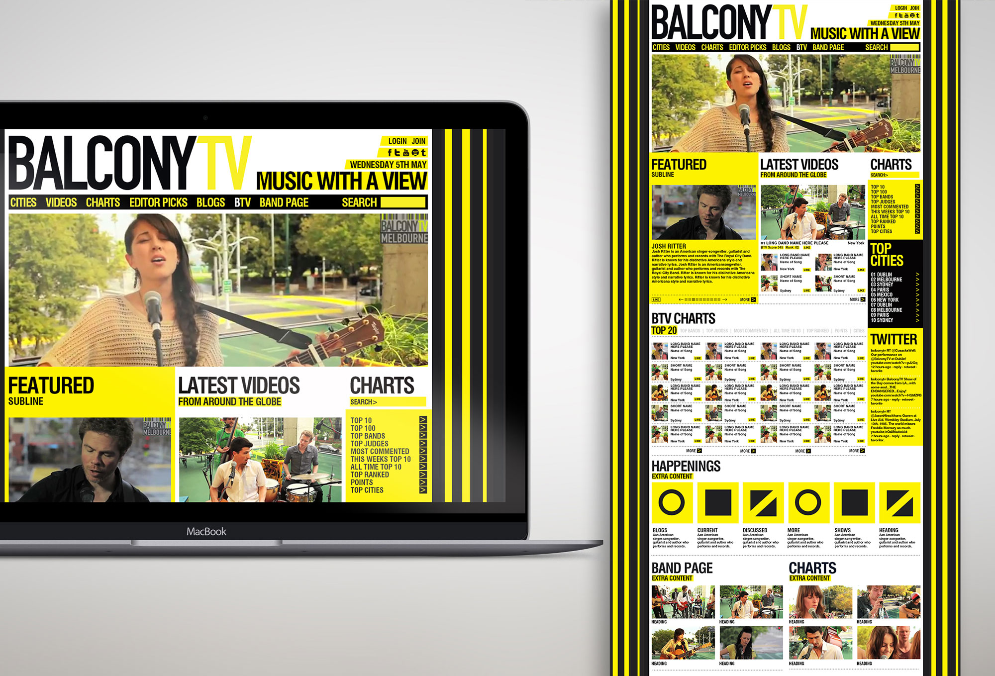 Balcony TV Web UI Design Yellow Typography Freelance Dublin London