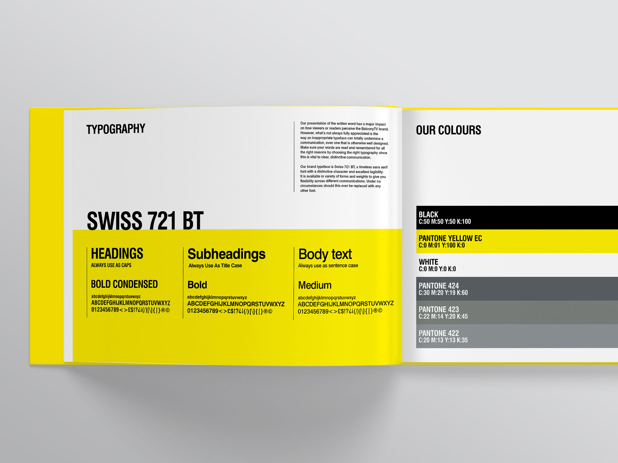 Balcony TV Brand Book Style Guide Graphic Design Yellow Swiss Typography Freelance Dublin London