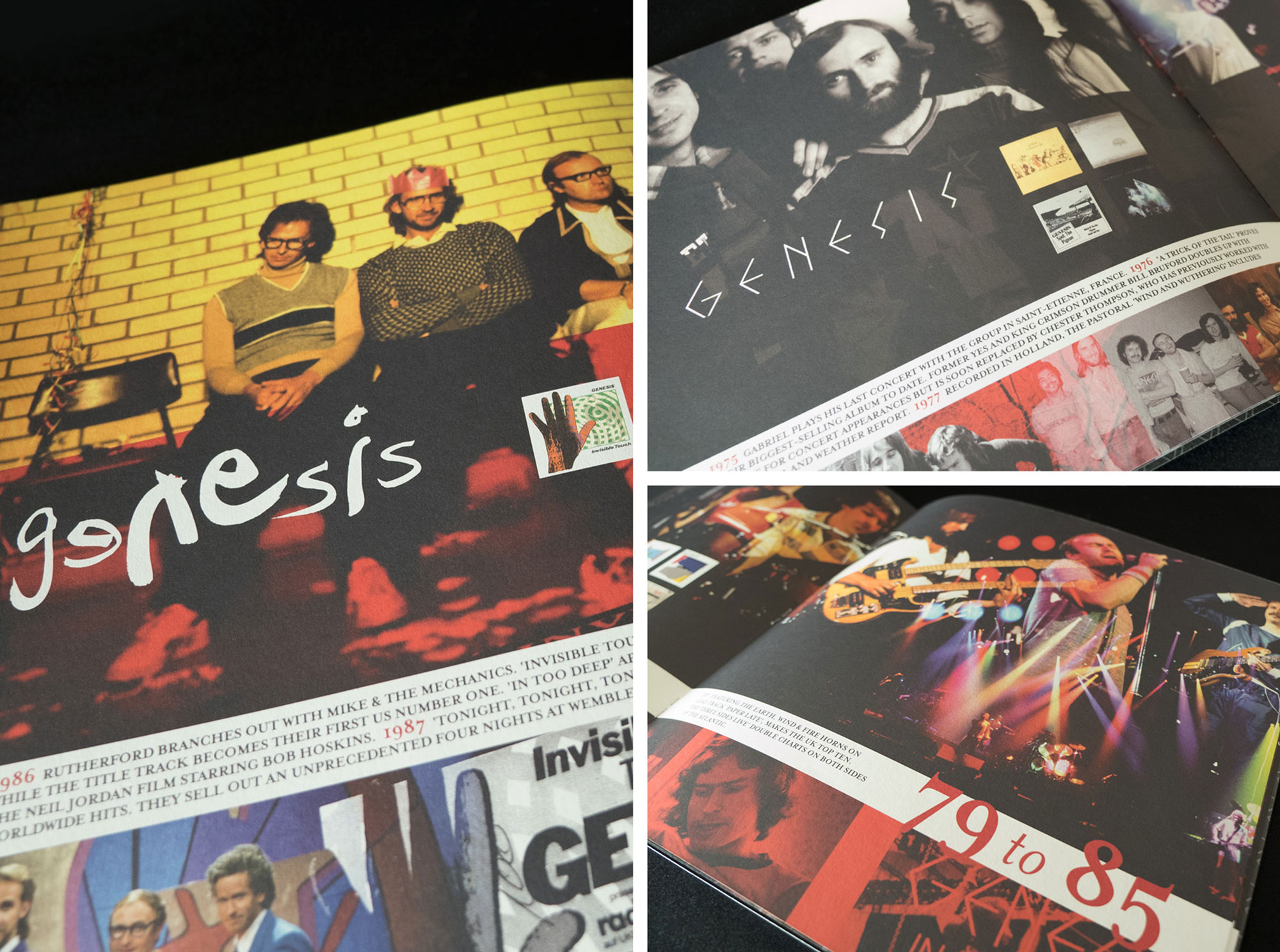 Music Book graphic design Genesis Phil Collins Tour Book Editorial Freelance