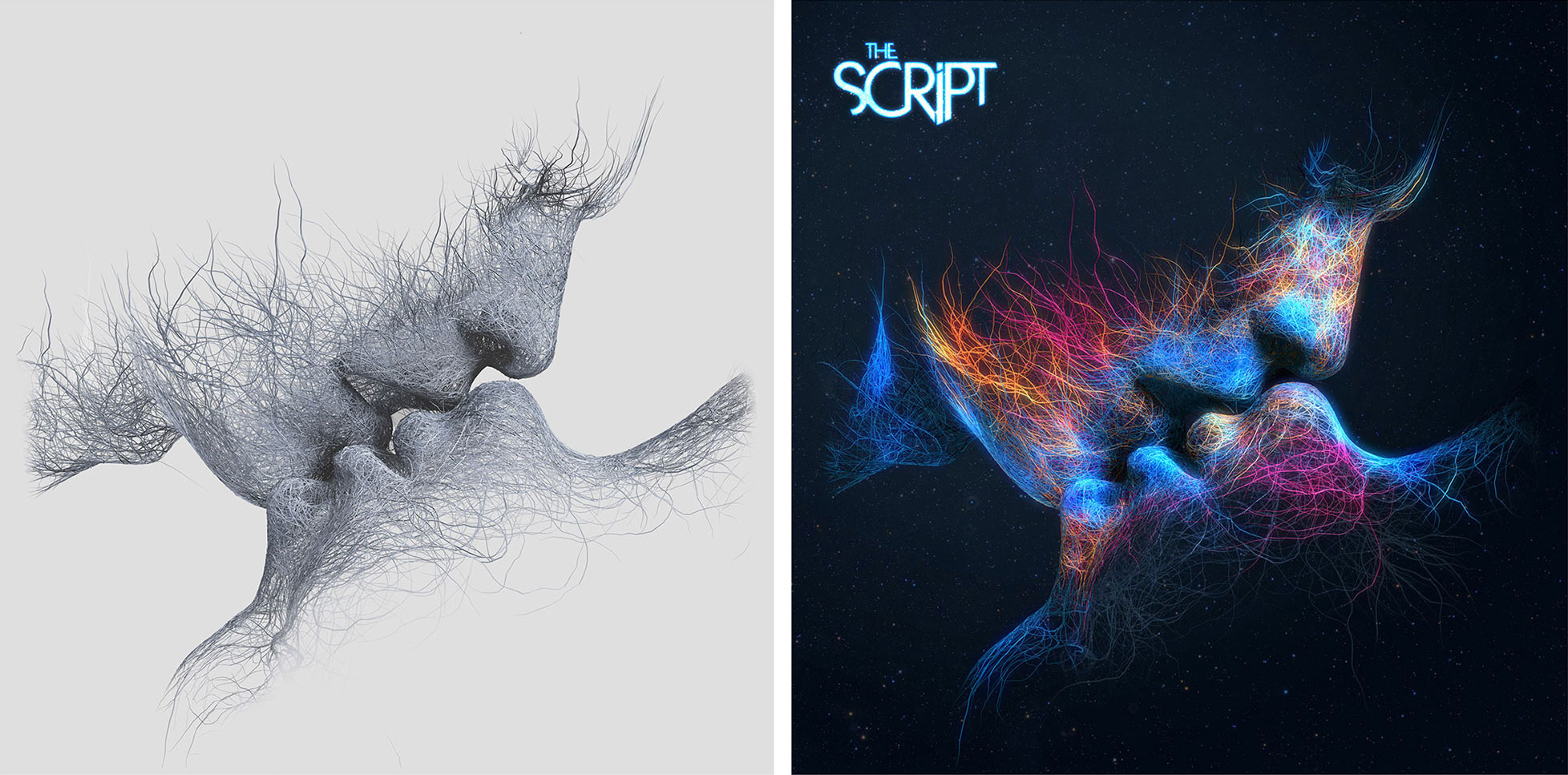 Script Sound Silence Album Cover Before After Photo Manipulation Effects Photoshop Dublin London