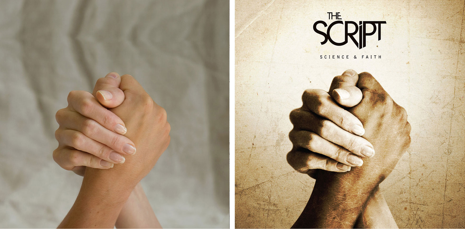 Script Science Faith Album Cover Before After Hands Fists Photoshop Freelance Dublin London
