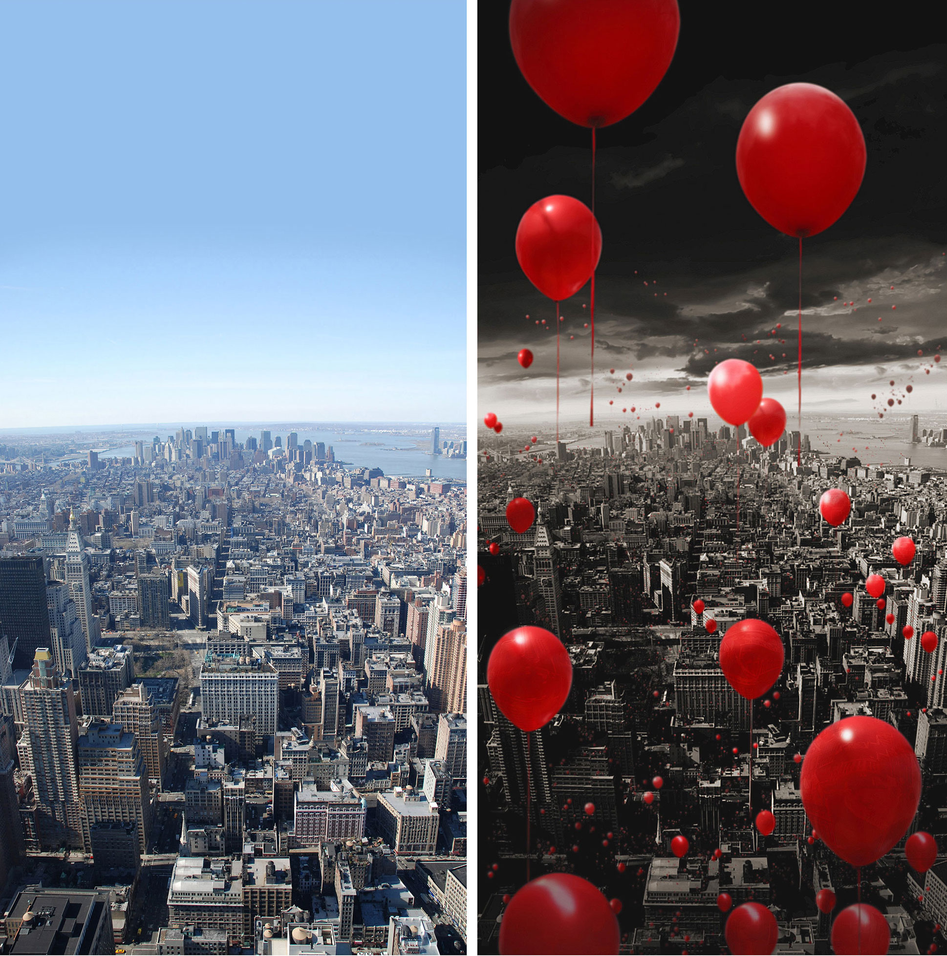 Red Balloons Design Before After Photo Manipulation Effects Photoshop New York Dublin London