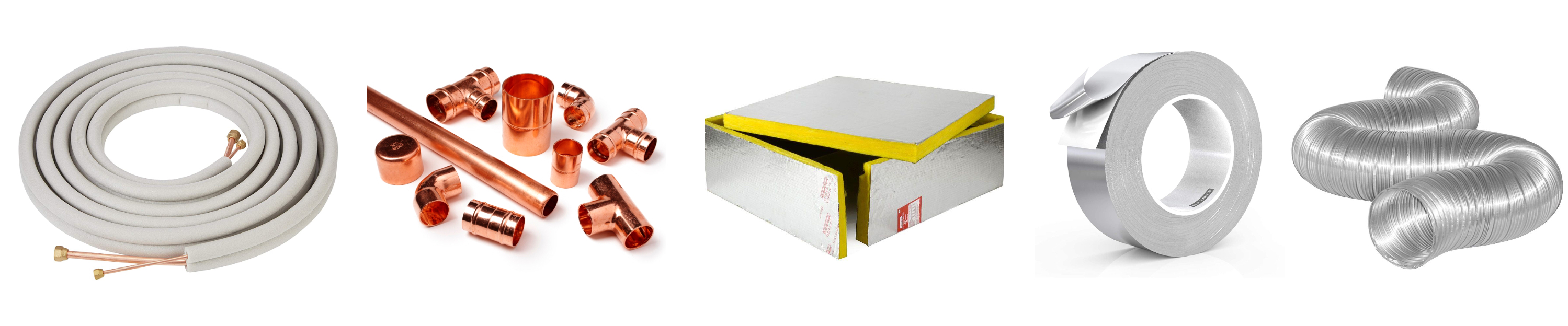 group of HVACR supplies, tubing, tape, copper fittings, insulation