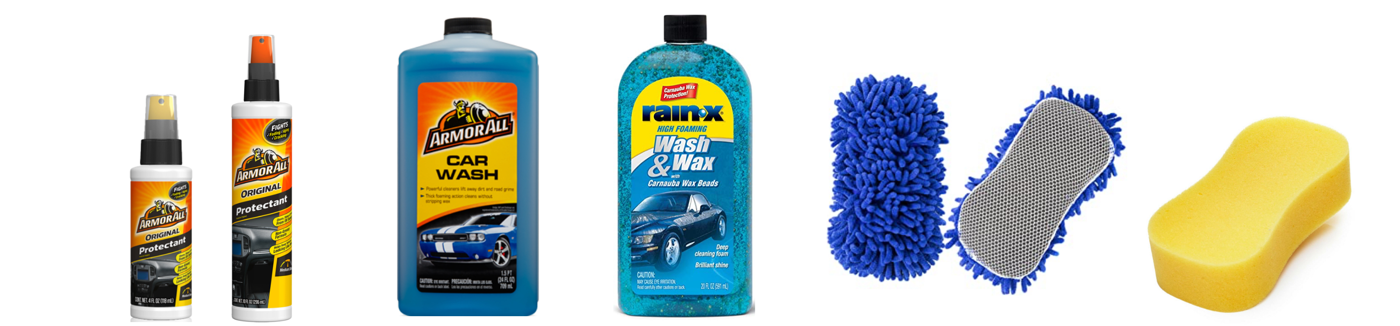 group of car care products, cleaners, protectants, sponge available in belize