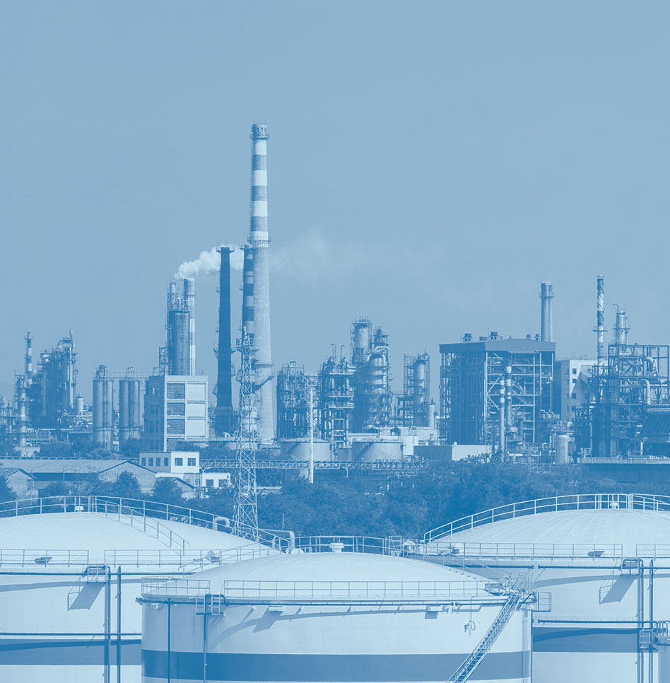 Duotone image of chemical plants