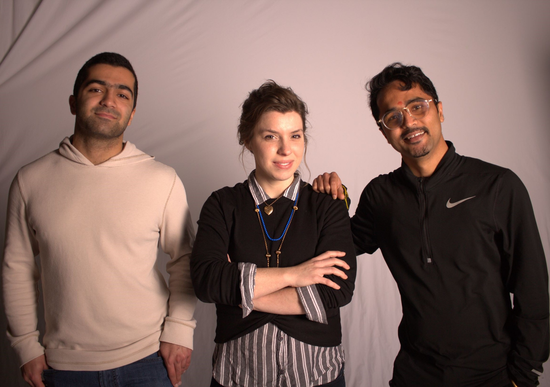 HazAdapt's founding team. From left to right: COO Omeed, CEO Ginny, and CTO Uday.