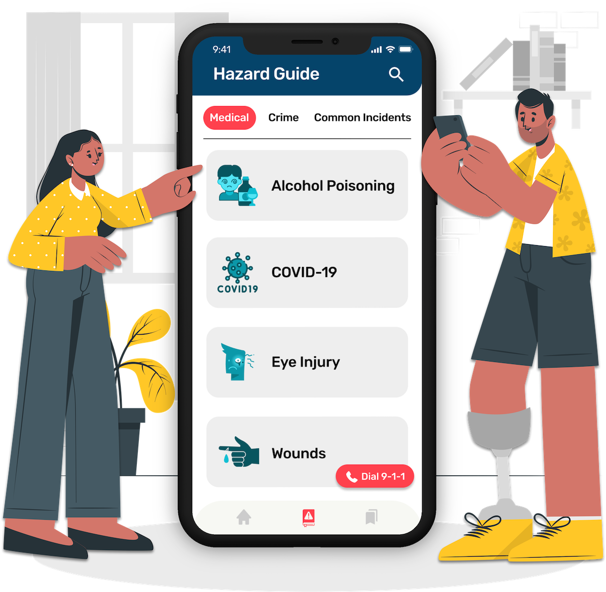 A woman point at the HazAdapt app and a man with a prosthetic leg using the app on his phone.