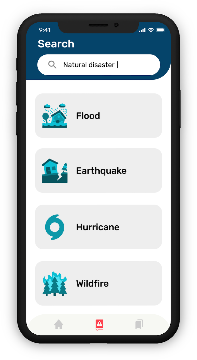 """Searching for """"natural disasters"""" in the HazAdapt app and getting Flood, Earthquake, Hurricane, and Wildfire as the top search results."""