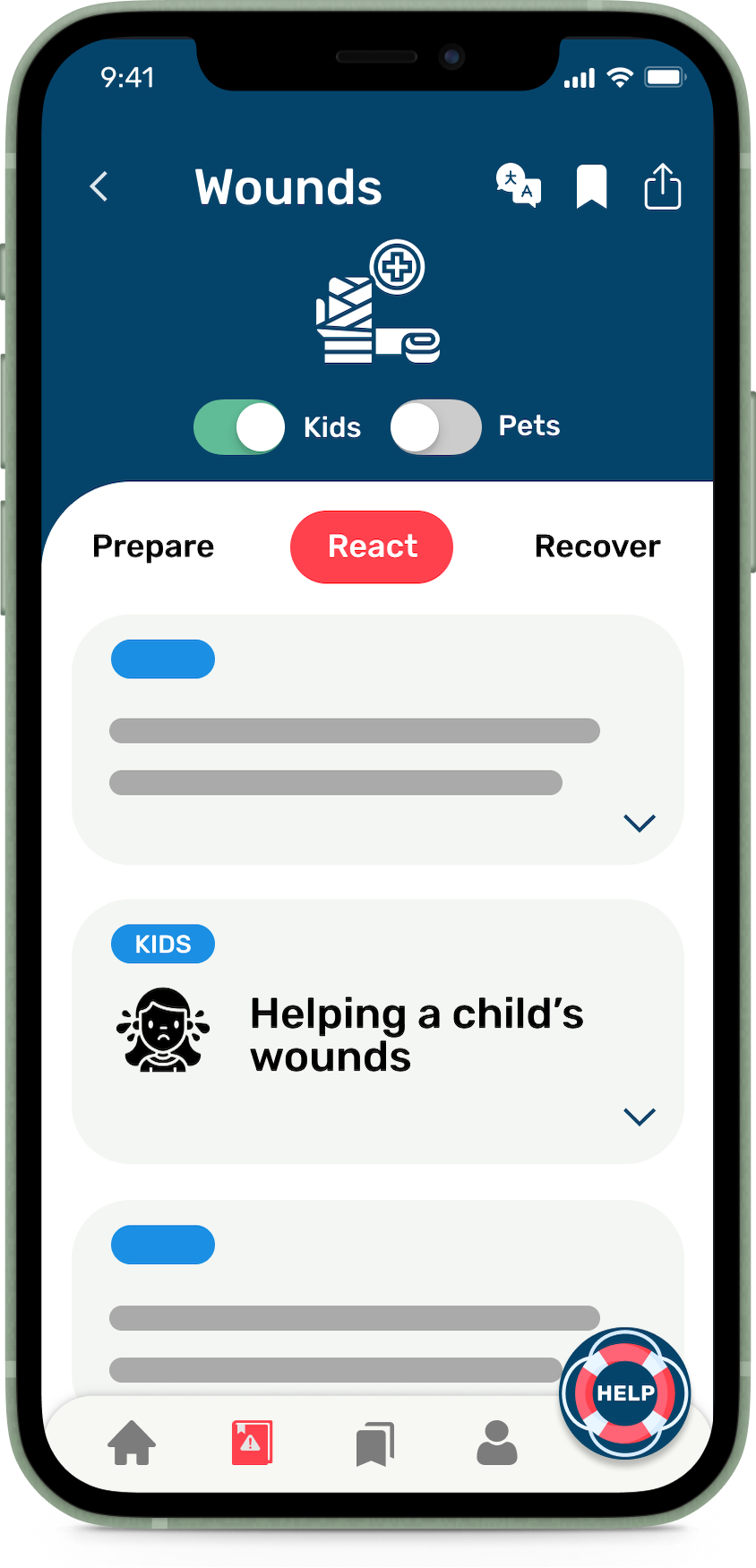 A phone showing the Wounds hazard in the HazAdapt app with the Kids toggle enabled and kids-specific information visible.