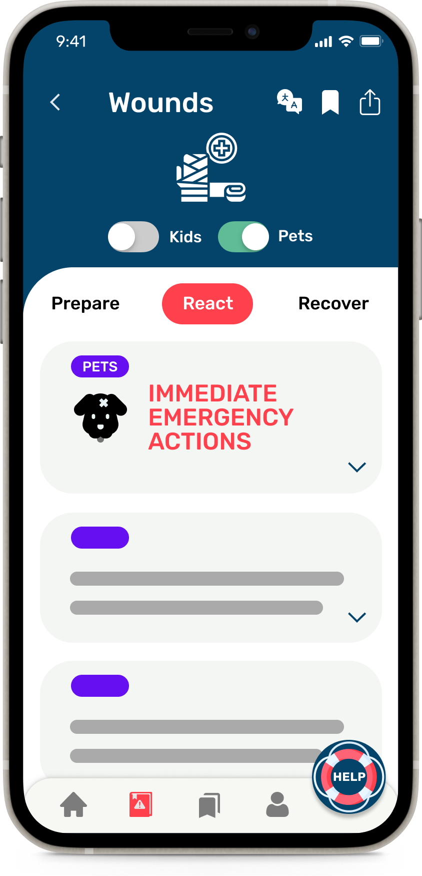 A phone showing the Wounds hazard in the HazAdapt app with the Pets toggle enabled and pet-specific information visible.