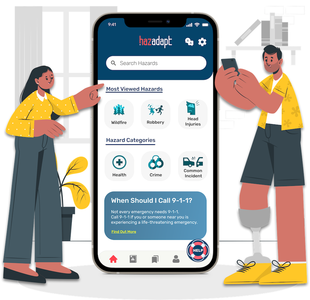 A woman pointing at the HazAdapt app and a man with a prosthetic leg using the app on his phone.
