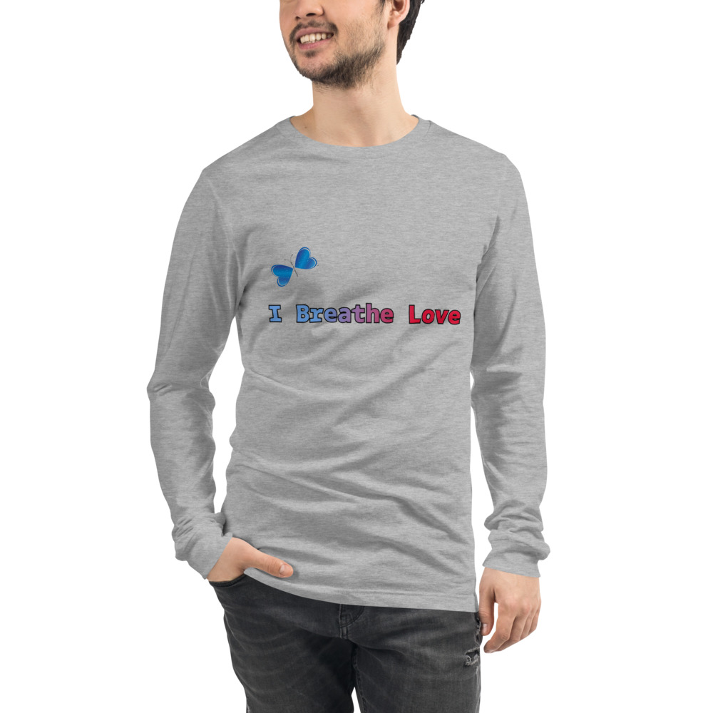 Spread the message of Love with this unisex long sleeve I Breathe Love tee. For a casual look, combine it with your favorite jeans, and layer it with a button-up shirt, a zip-up hoodie, or a snazzy jacket. Dress it up with formal trousers or chinos to achieve a more professional look.  Features: • 100% combed and ring-spun cotton • Crew neck • Cover-stitched collar • 2'' ribbed cuffs