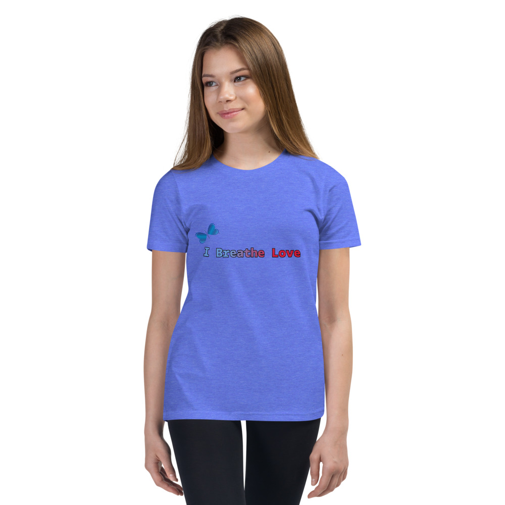 This is the I Breathe Love tee that you've been looking for, and it's bound to become a favorite in any youngster's wardrobe. It's light, soft, and comes with a unique design that stands out from the crowd wherever you go!  Features: • 100% soft jersey cotton • Heather colors are 52% combed and ring-spun cotton, 48% polyester • Athletic Heather is 90% Airlume combed and ring-spun cotton, 10% polyester • Pre-shrunk fabric • Relaxed unisex fit