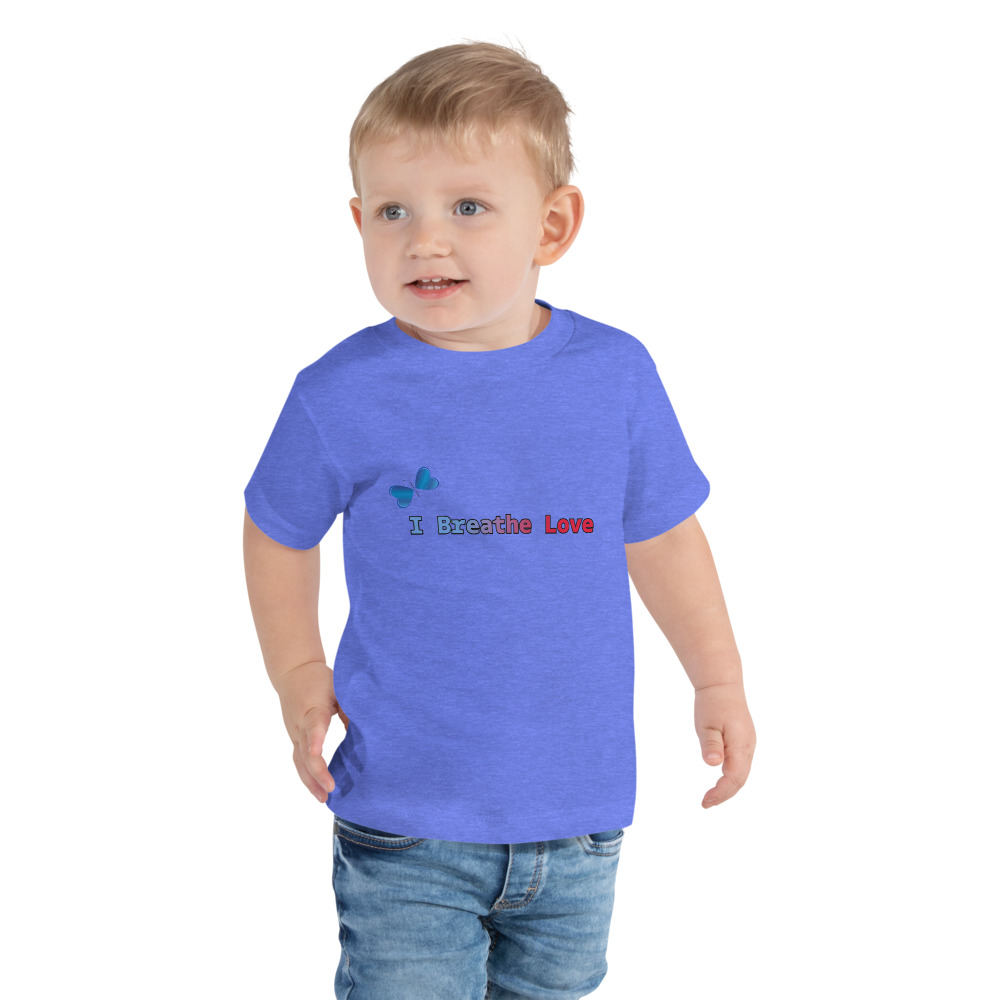 Let your toddler do their thing while feeling super comfy and cute in this short-sleeve I Breathe Love t-shirt.    Features: • 100% cotton • Pre-shrunk fabric • Relaxed fit for extra comfort
