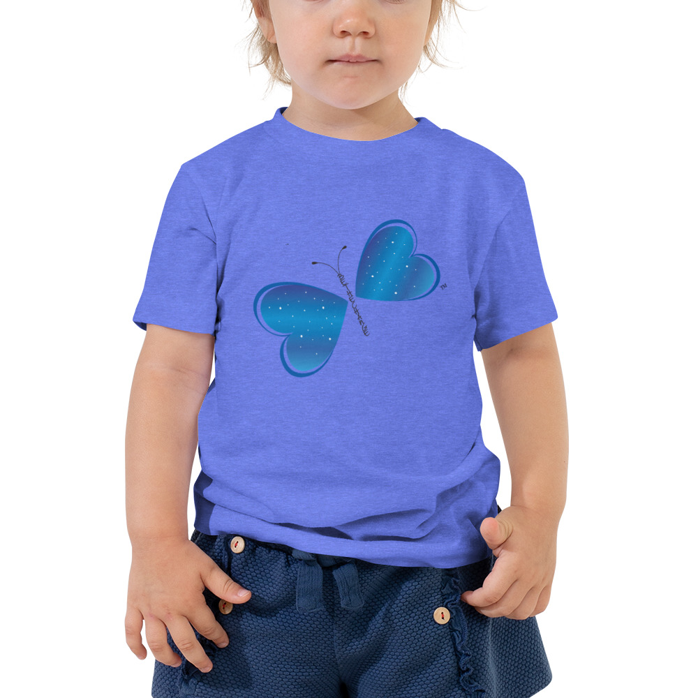 Let your toddler do their thing while feeling super comfy and looking extra stylish in this Be the Change Butterfly short-sleeve jersey t-shirt.  The tee is soft, durable, and made with pre-shrunk fabric.  Features:  • 100% cotton • Pre-shrunk fabric • Relaxed fit for extra comfort