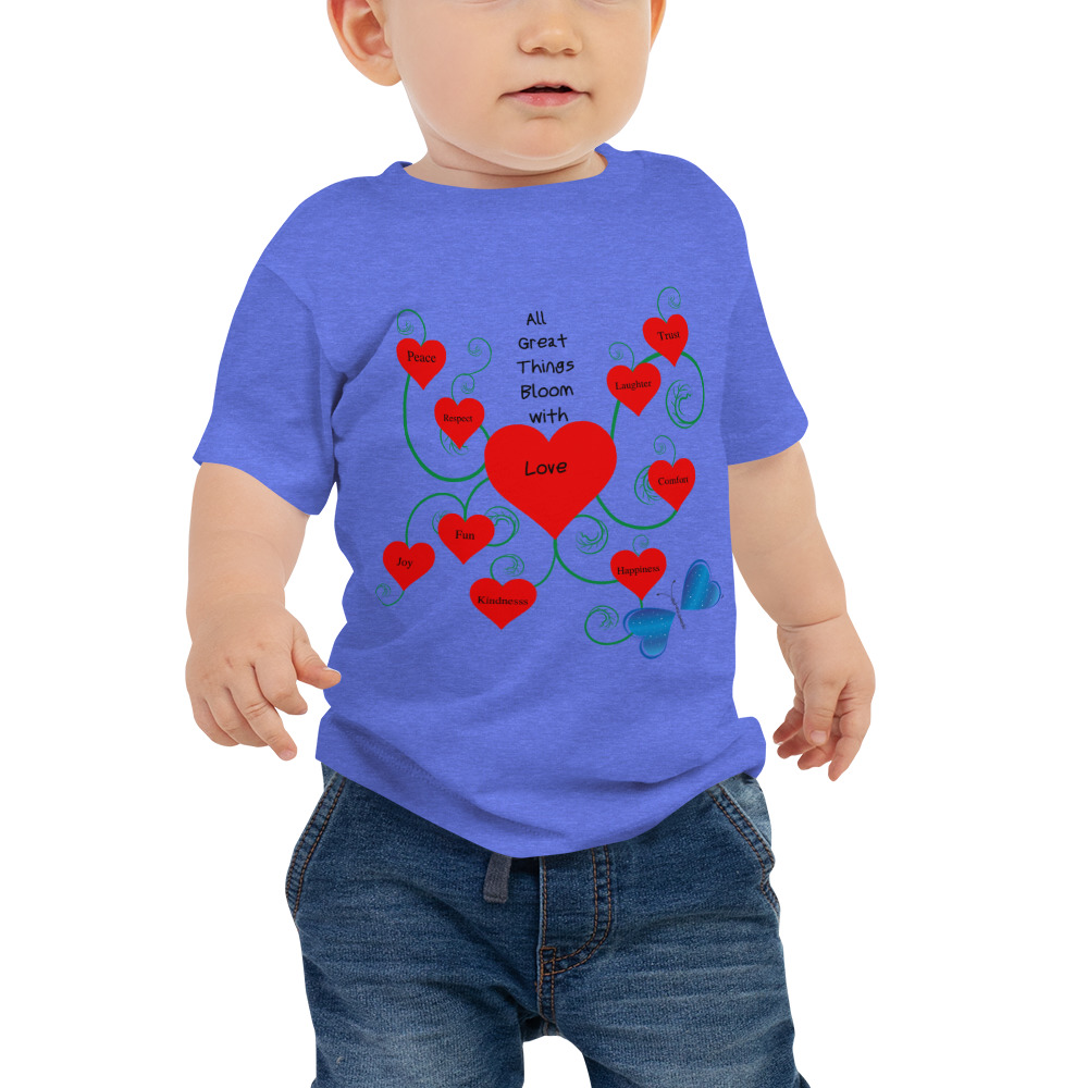 Have the love of your life sport the message of love wearing this unique Bloomin' with Love short sleeve tee. Comfy, durable, and easy to clean. It's a classic that's bound to become the most loved item in your baby's wardrobe.   Features: • 100% cotton* • Pre-shrunk fabric • Relaxed fit for extra comfort  *Heather color is 52% Airlume combed and ring-spun cotton 48% poly