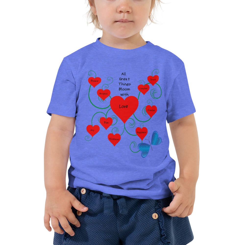 Your toddler will be the love of the day with this unique Bloomin' with Love short sleeve tee.  They'll romp around looking stylish while staying comfortable.  Soft, durable, and easy to clean.  Make it a staple of your toddler's wardrobe.  Features: • 100% cotton • Pre-shrunk fabric • Relaxed fit for extra comfort