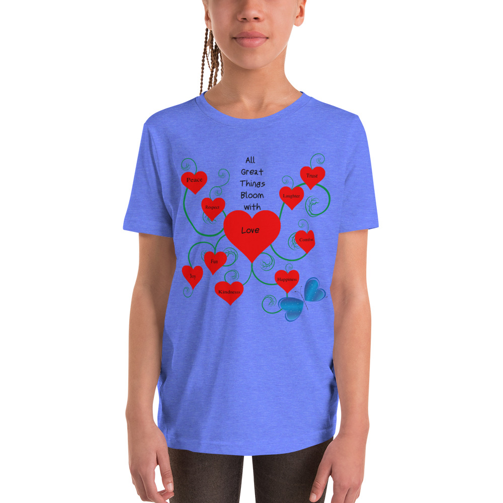 The Bloomin' with Love Youth Short Sleeve T-shirt is bound to become a favorite in your youngster's wardrobe. Light and soft, with relaxed unisex fit.    Features: • 100% soft jersey cotton • Pre-shrunk fabric • Heather colors are 52% combed and ring-spun cotton, 48% polyester • Athletic Heather is 90% Airlume combed and ring-spun cotton, 10% polyester