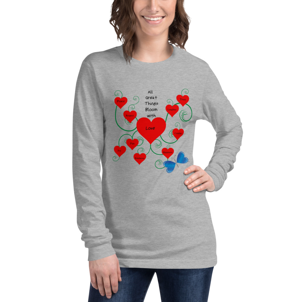 Spread the message of Love with this unique Bloomin' with Love long sleeve tee.  You'll be in style with this sim fitted tee with crew neck and 2 inch ribbed cuffs.  Features: • 100% combed and ring-spun cotton • Heather colors are 52% combed and ring-spun cotton, 48% polyester • Athletic Heather is 90% combed and ring-spun cotton, 10% polyester • Cover-stitched collar