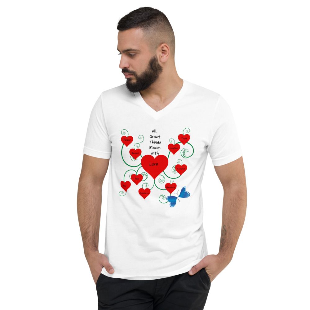 This unisex v-neck tee will help you spread the message of Love while looking stylish everywhere you go.  Add it to your wardrobe today and the become a game changer!  Features: • Made of 100% combed and ringspun cotton • Pre-shrunk fabric • Coverstitched v-neck and hemmed sleeves • Shoulder-to-shoulder taping