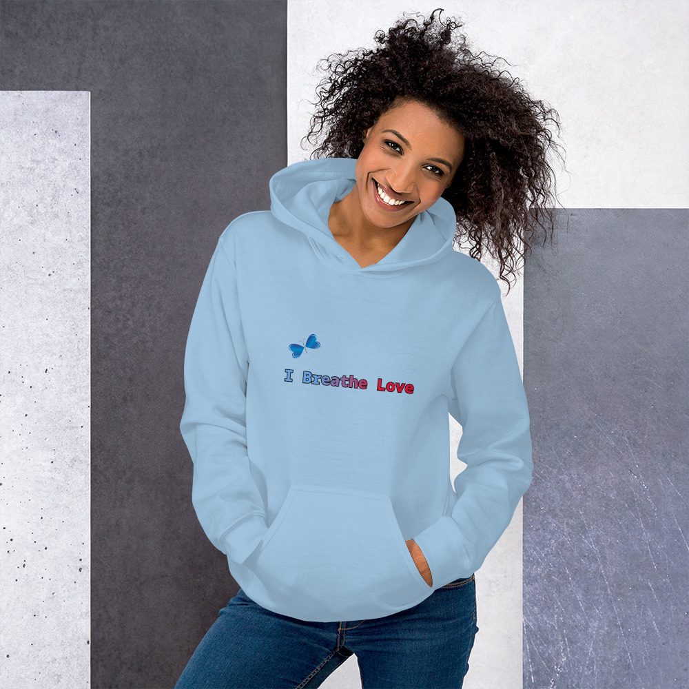 Everyone needs a cozy go-to hoodie to curl up in, so go for one that's soft, smooth, and stylish. This I Breathe Love Hoodie is the perfect choice for cooler evenings!  • Front pouch pocket • Double-lined hood with matching drawcord • Double-needle stitched collar, shoulders, armholes, cuffs, and hem • 50% pre-shrunk cotton, 50% polyester • Fabric weight: 8.0 oz/yd² (271.25 g/m²) • Air-jet spun yarn with a soft feel and reduced pilling
