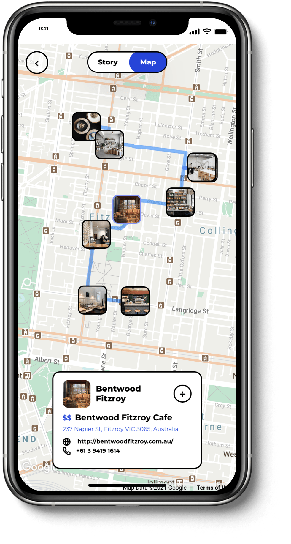 Travel stories automatically mapped and integrated with rich place info