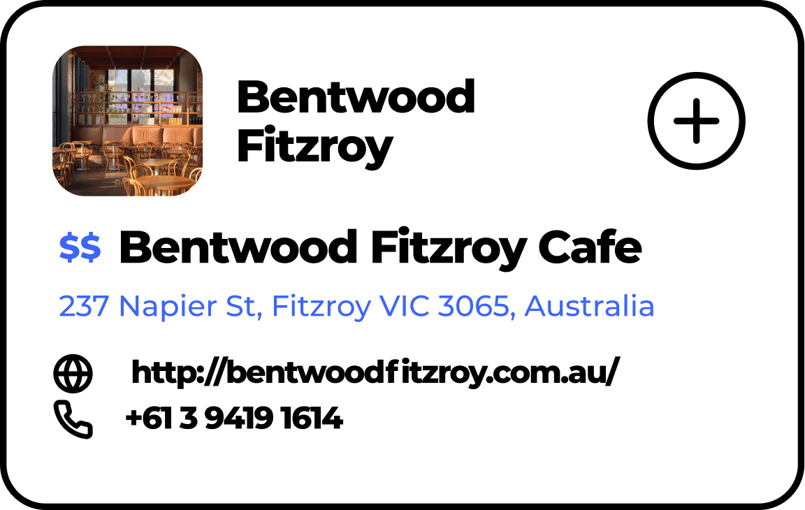 Location card popup Bentwood Fitzroy Cafe
