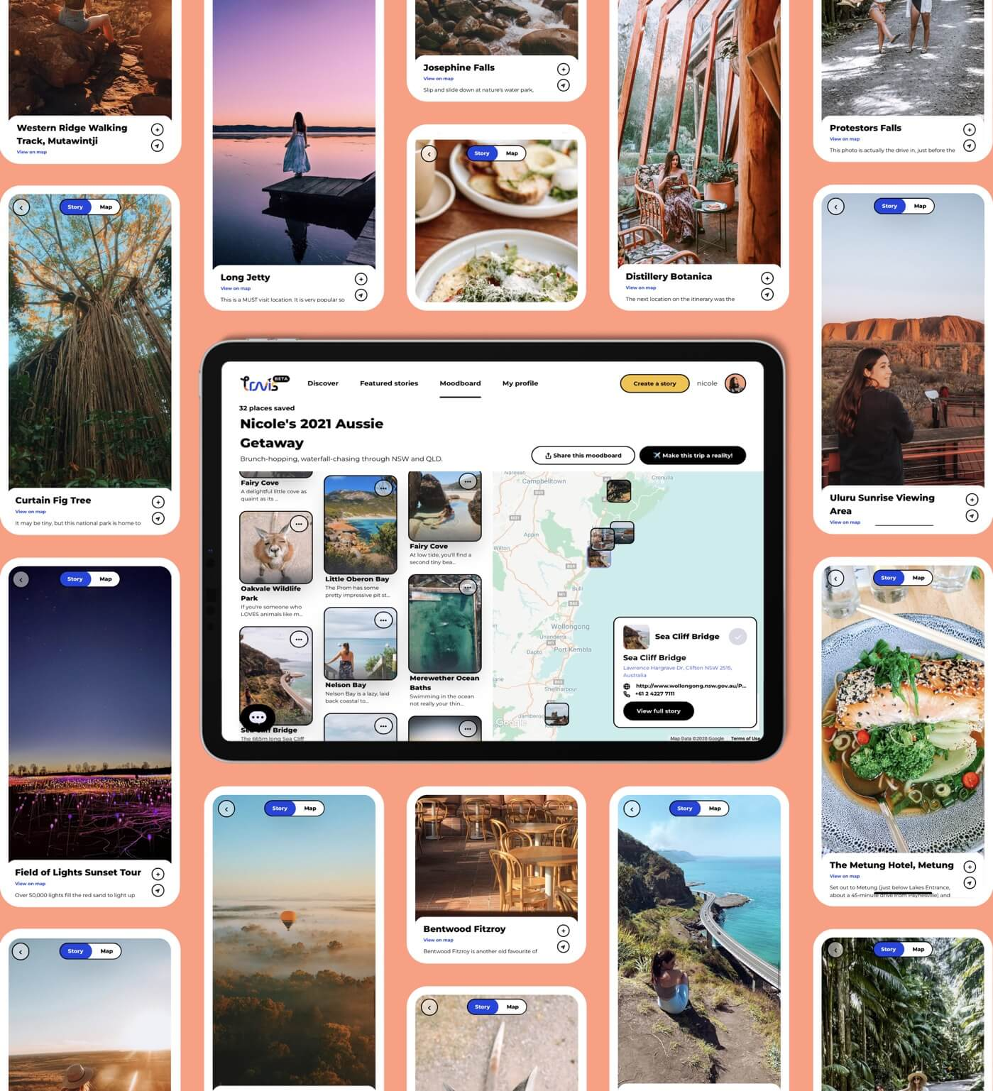 Travis travel moodboard to curate your aussie getaway trips without spreadsheet