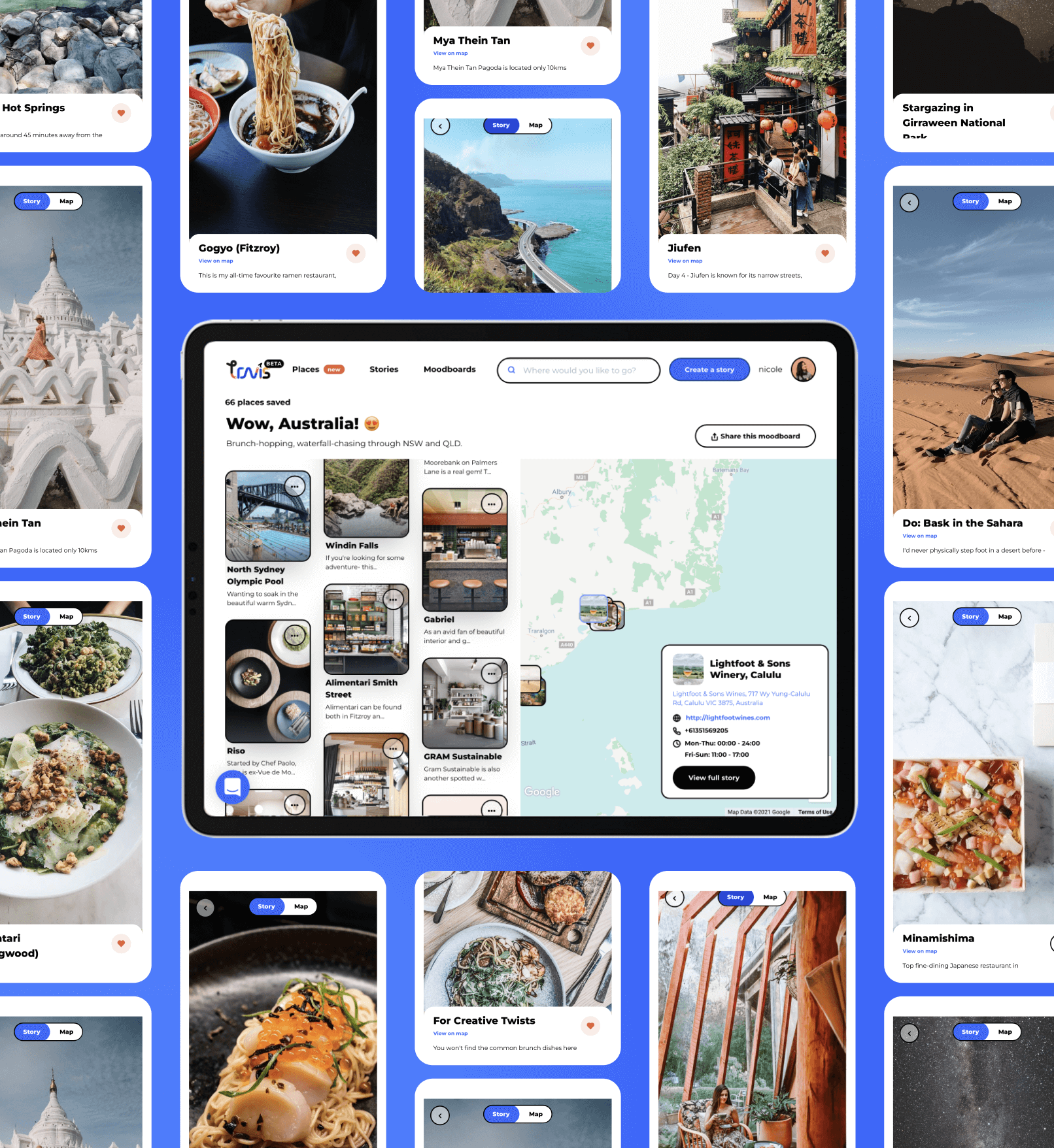 Travis moodboard surrounded by various travel photos on a blue background