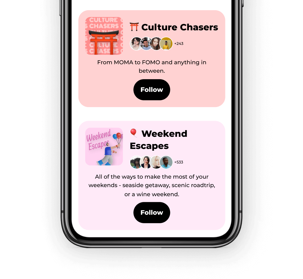 A mobile screen with different travel themes to follow