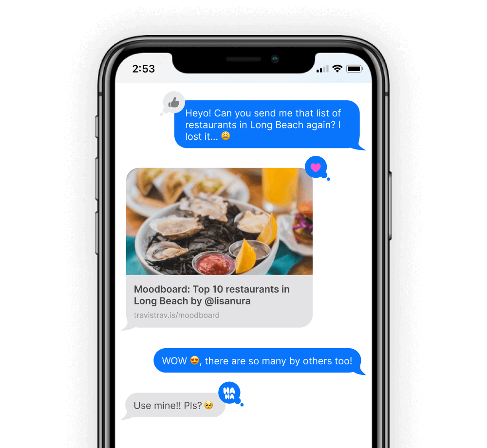 A mobile screen with messages between 2 friends