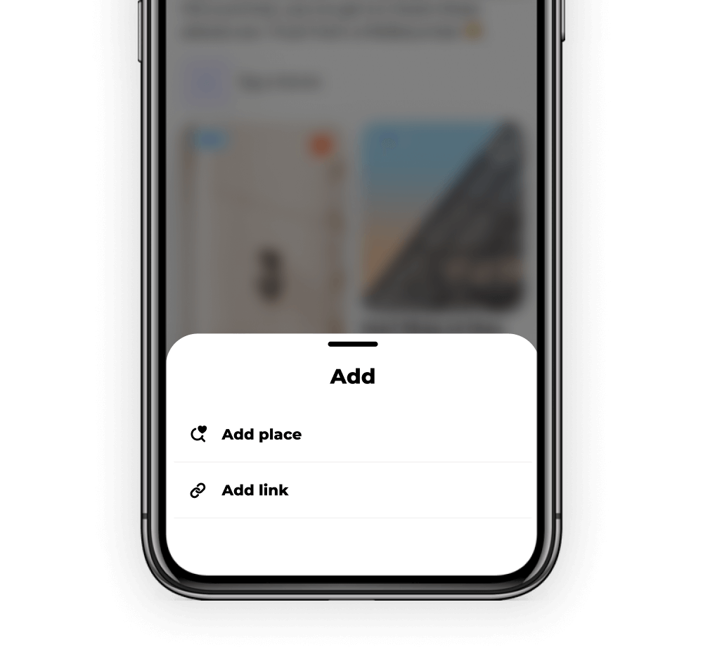 A mobile screen 2 text to select, add place and add link