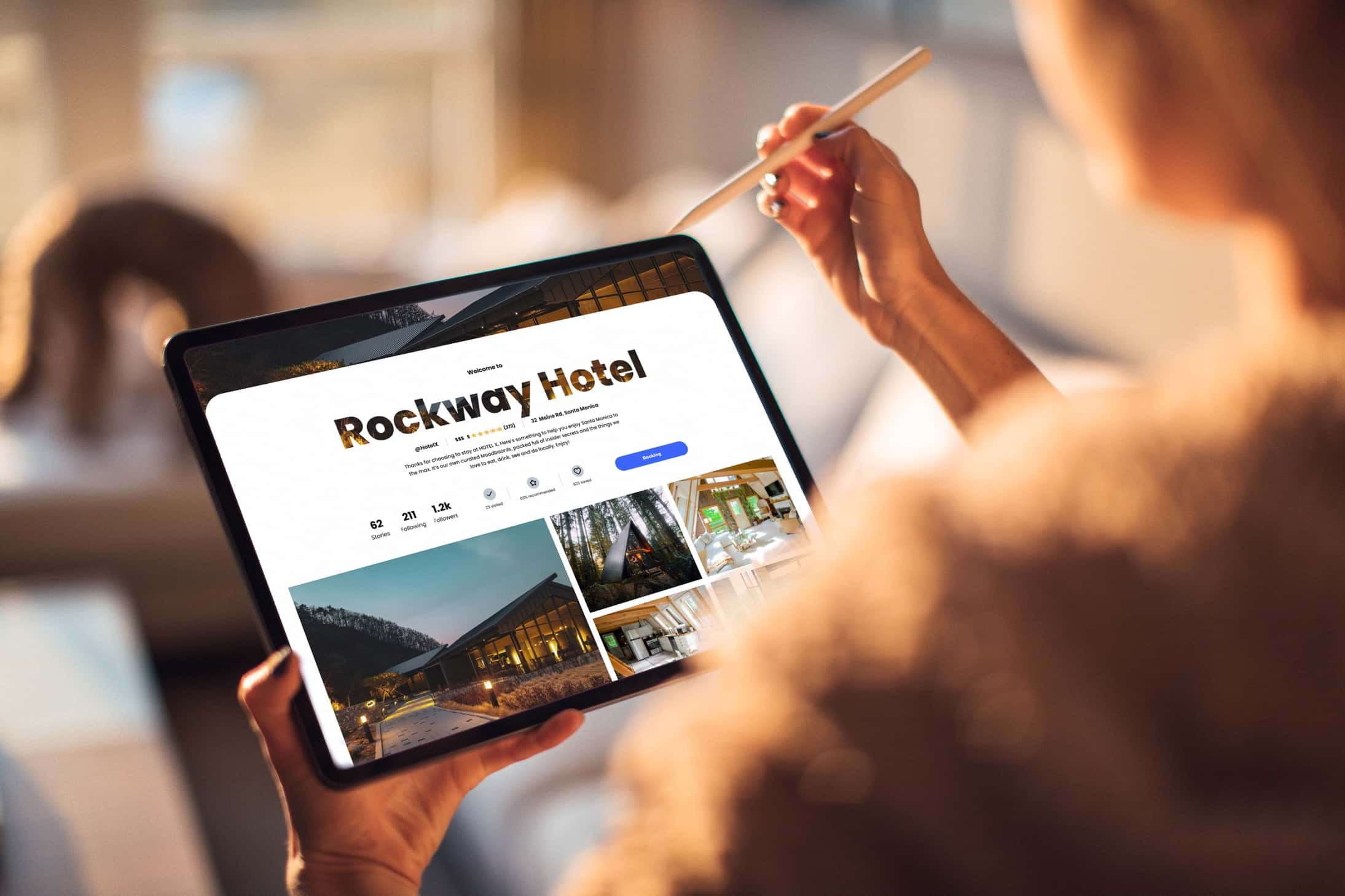 Person looking at business hub of a hotel