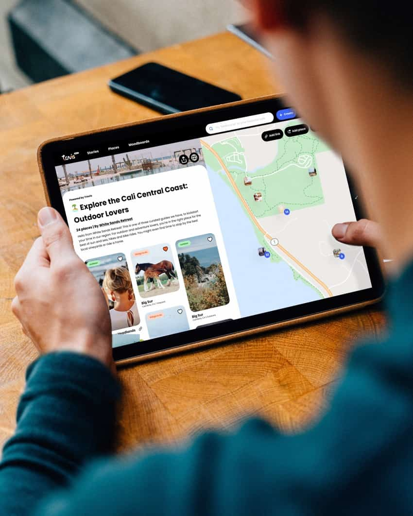 iPad of a digital guide and map