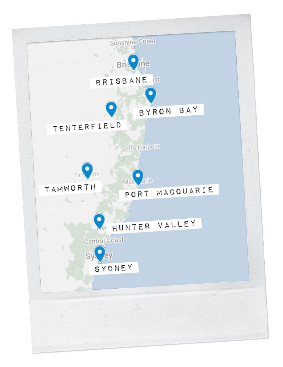 Map view of a Sydney to Brisbane road trip