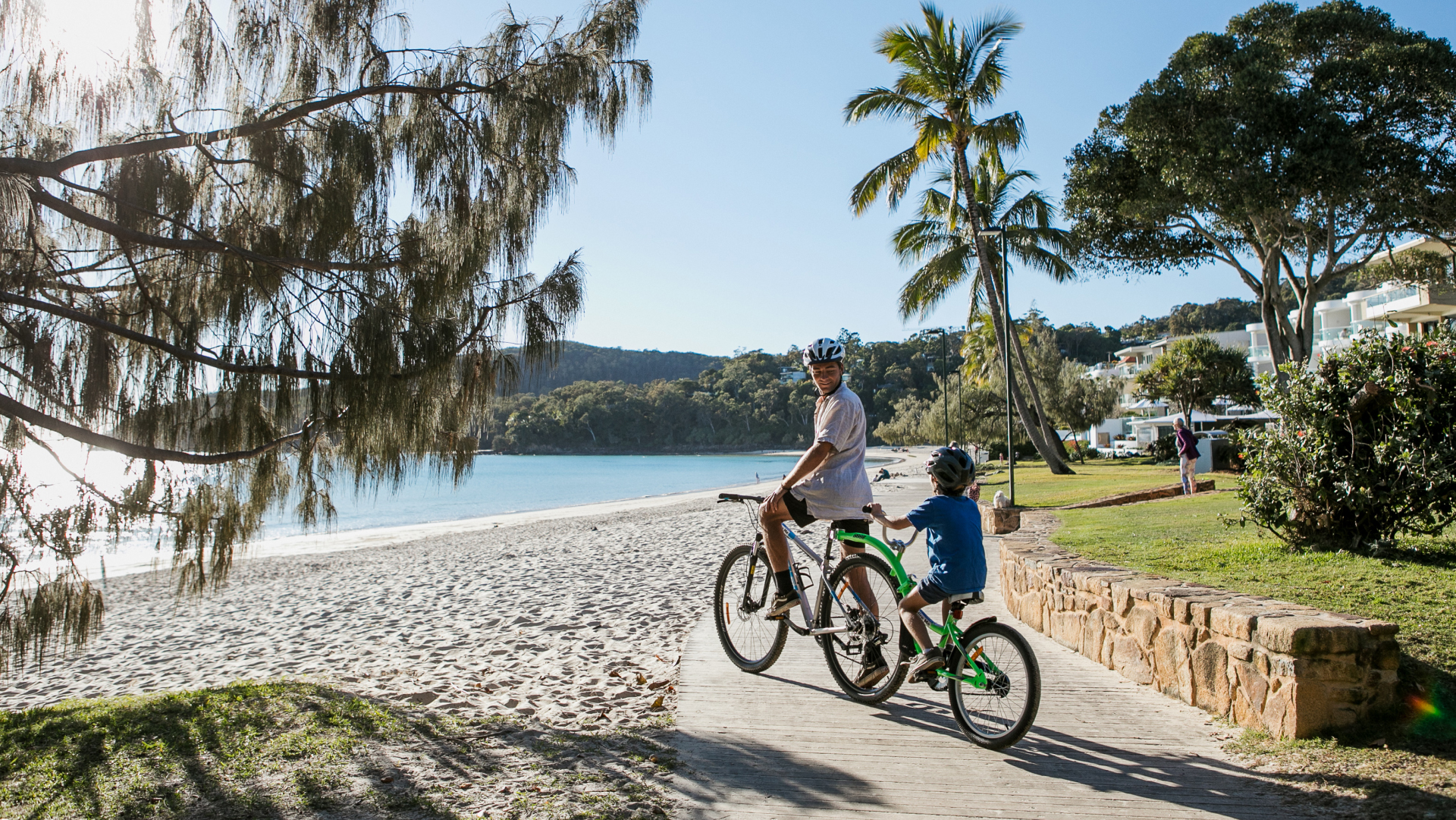 Travis Noosa Heads Guide - Bike on the Main Beach Boardwalk