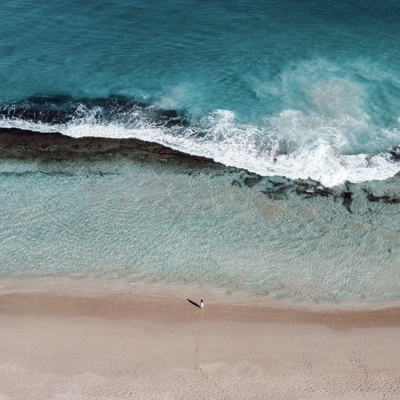 Ariel view of the beach and sea