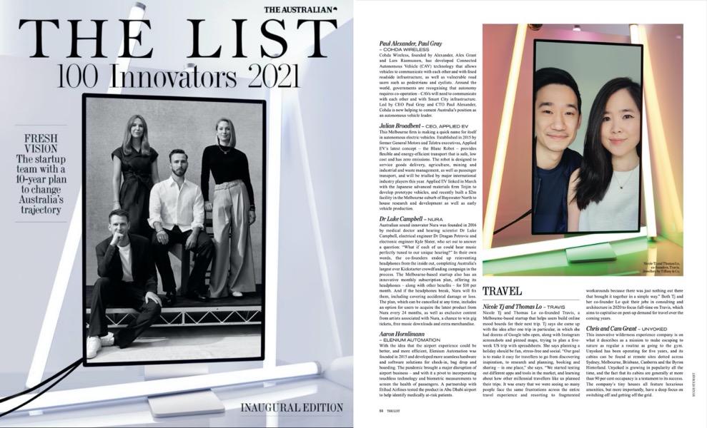 The Australian Magazine Top 100 Innovators 2021 Travis